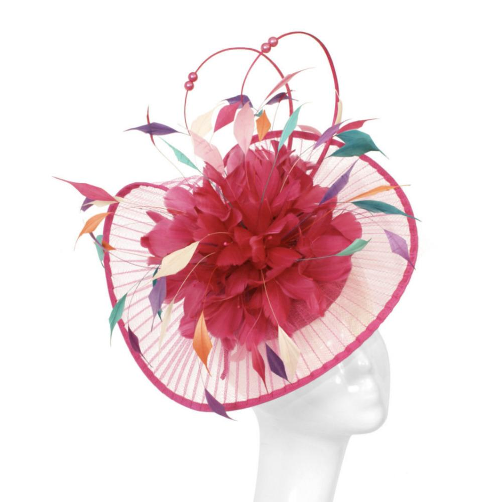 Circus Affair Fuchsia Fascinator-Fascinators-Peter Bettley-Tegen Accessories Pink