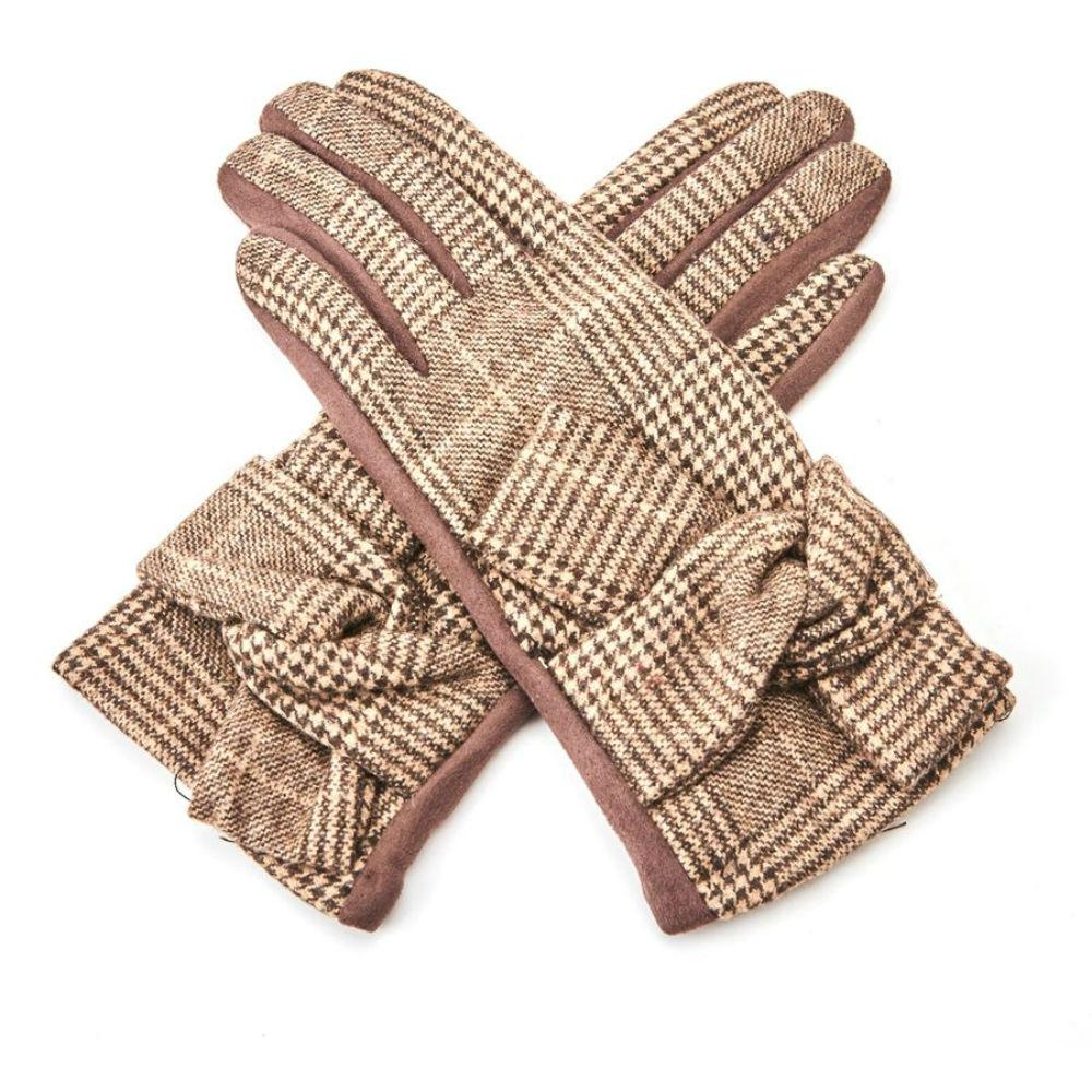Classic Checkered Gloves with Knot-Gloves-Tegen Accessories-Brown-Tegen Accessories