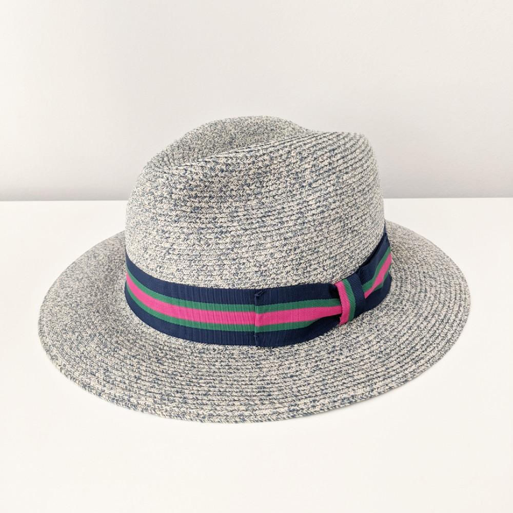 Contrast Ribbon Fedora Sun Hat Blue