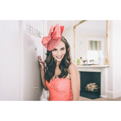 Coral Pink Satin Bow Fascinator-Discontinued-Coral-Tegen Accessories