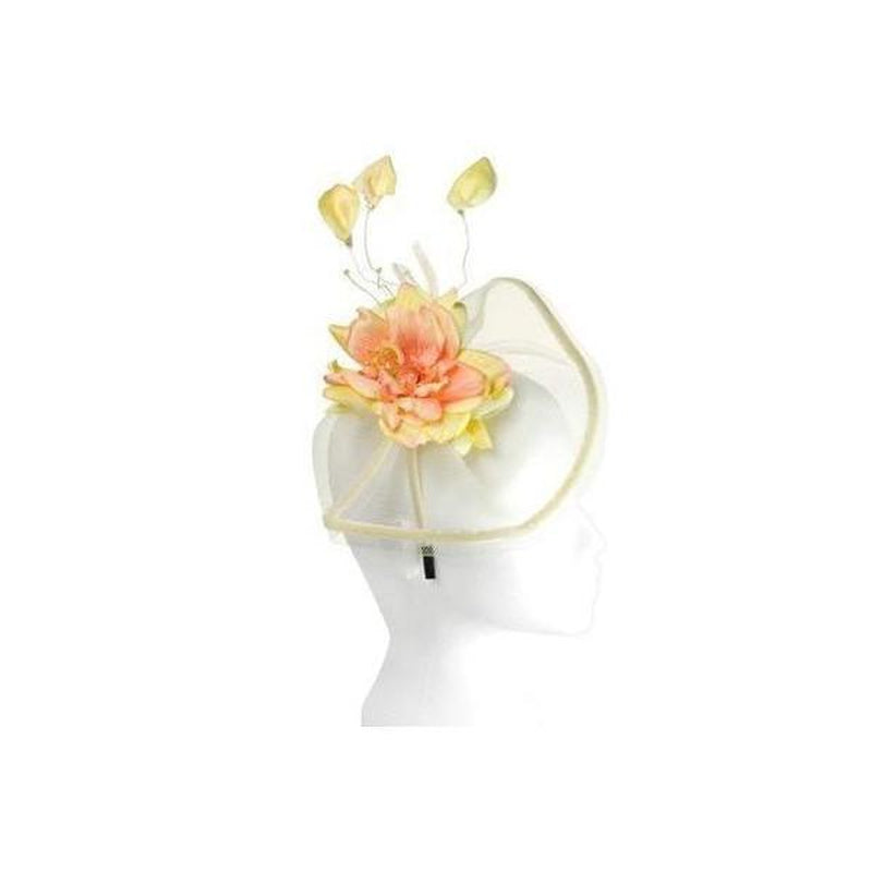 Coral yellow fascinator headpieces hats coral yellow flower fascinator mightylinksfo