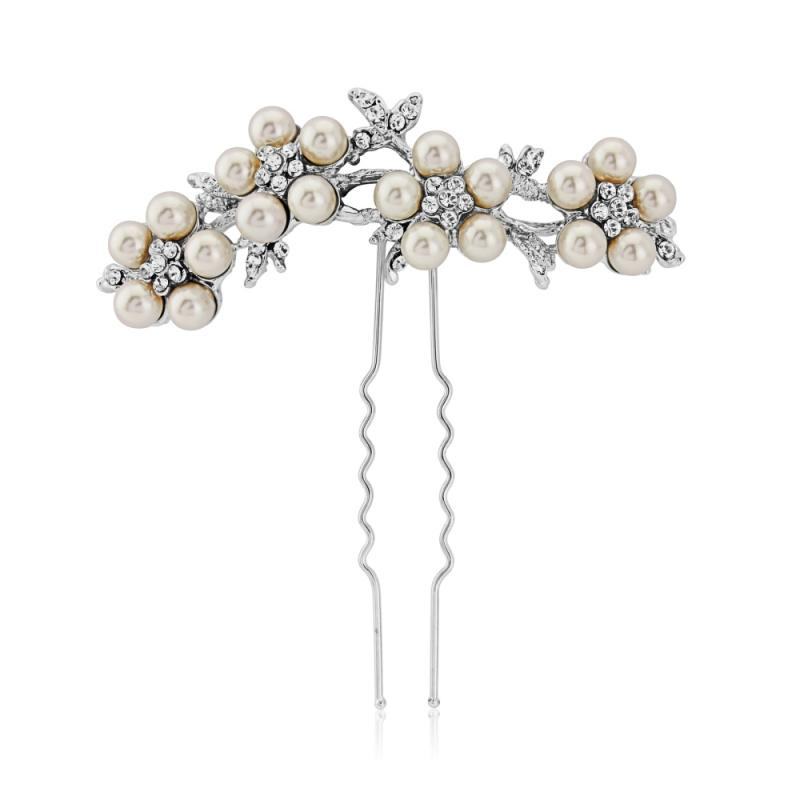 Crystal and Pearl Daisy Hair Pin-Chignon pins-Bridal-Tegen Accessories