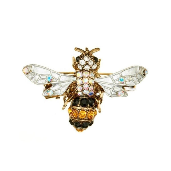 Crystal Bee Hairclip & Brooch-Brooches-Rosie Fox-Gold-Tegen Accessories