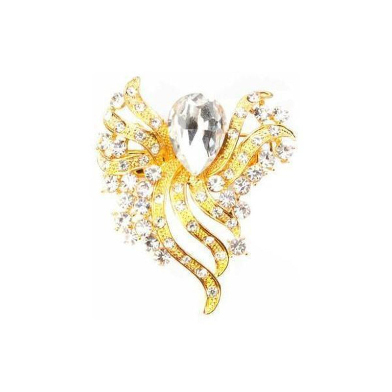 Crystal Bouquet Brooch-Brooches-Rosie Fox-Gold-Tegen Accessories Gold Clear