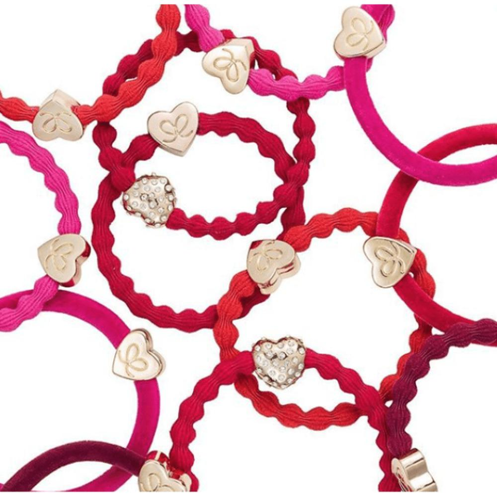 Crystal Bubble Heart Charm Hairband-Elastics-by Eloise-Cherry Red-Tegen Accessories Red