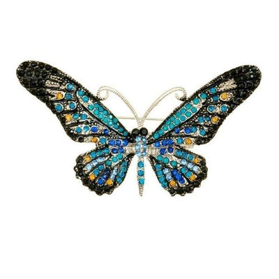 Crystal Butterfly Hairclip & Brooch-Discontinued-Blue Crystal-Tegen Accessories