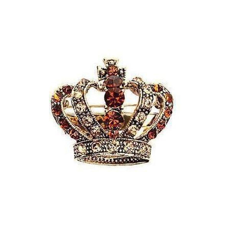 Crystal Crown Brooch-Brooches-Rosie Fox-Gold-Tegen Accessories Brown Gold