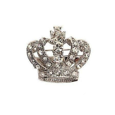 Crystal Crown Brooch-Brooches-Rosie Fox-Silver-Tegen Accessories
