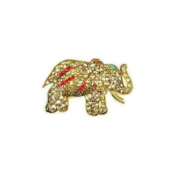 Crystal Elephant Brooch-Discontinued-Gold-Tegen Accessories