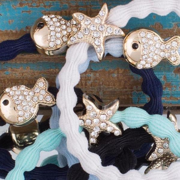 Crystal Fish Charm Hairband-Elastics-by Eloise-Sky Blue-Tegen Accessories
