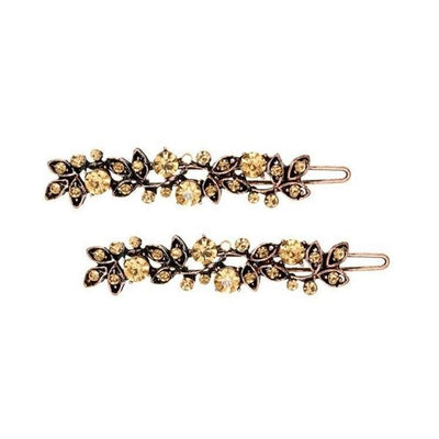Crystal Floral Hairslides-Discontinued-Gold Crystal-Tegen Accessories