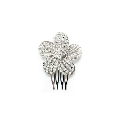Crystal Flower Comb-Hair combs-Bridal-Marigold-Silver-Tegen Accessories