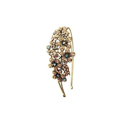 Crystal Flower Headband-Discontinued-Rose Gold Crystal-Tegen Accessories