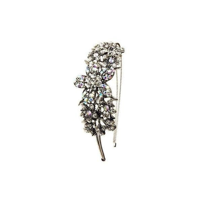 Crystal Flower Headband-Discontinued-Silver-Tegen Accessories