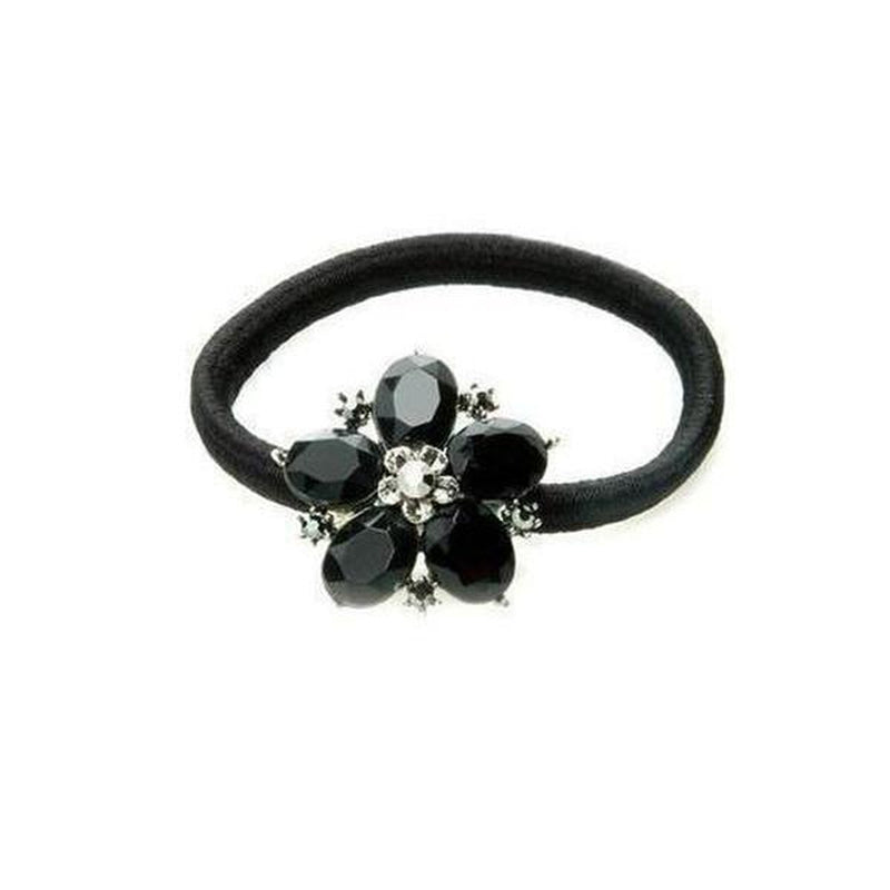 Crystal Flower Ponytailer-Elastics-Rosie Fox-Black-Tegen Accessories