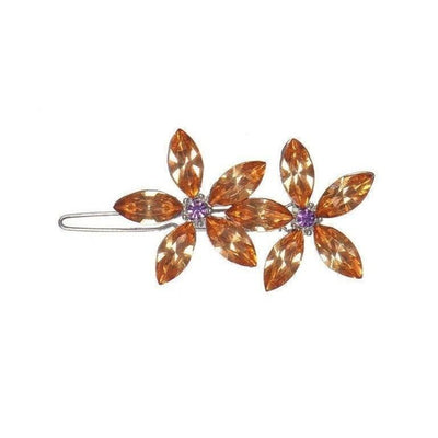 Crystal Flowers Hair Clip-Discontinued-Orange Crystal-Tegen Accessories