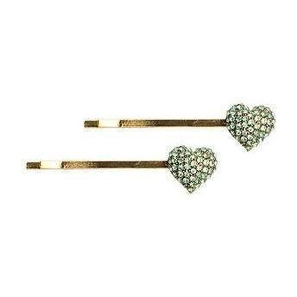 Crystal Heart Hair Slides-Clips & slides-Rosie Fox-Green-Tegen Accessories