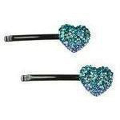 Crystal Heart Hair Slides-Discontinued-Blue-Tegen Accessories