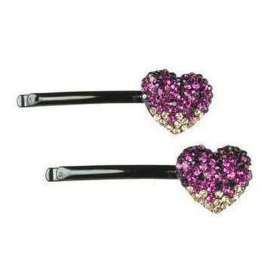 Crystal Heart Hair Slides-Discontinued-Pink-Tegen Accessories