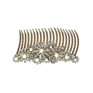 Crystal & Pearl Daisy Comb-Hair combs-Swarovski Crystal-Clear Crystal-Tegen Accessories