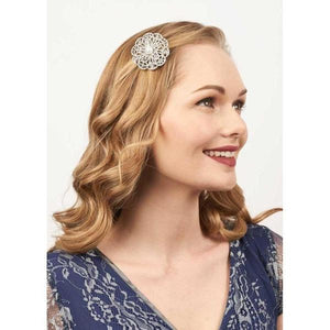 Crystal & Pearl Flower Hairclip & Brooch-Clips & slides-Rosie Fox-Tegen Accessories