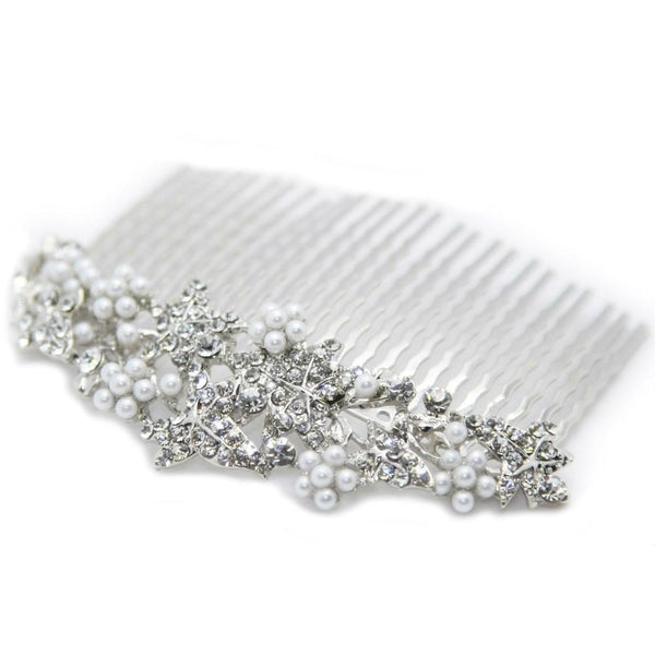 Crystal & Pearl Leaf Comb-Discontinued-Silver-Tegen Accessories