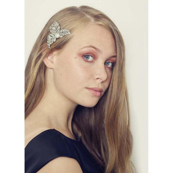 Crystal & Pearl Leaf Hairclip Brooch