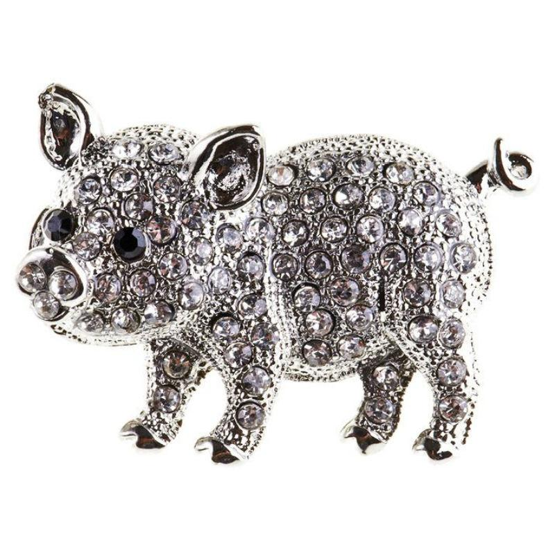 Crystal Piglet Hairclip/Brooch-Brooches-Rosie Fox-Tegen Accessories
