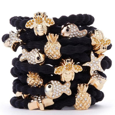 Crystal Pineapple Charm Hair Band-Elastics-by Eloise-Tegen Accessories