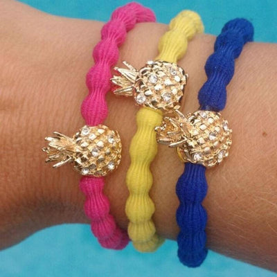 Crystal Pineapple Charm Hair Band-Elastics-by Eloise-Yellow-Tegen Accessories