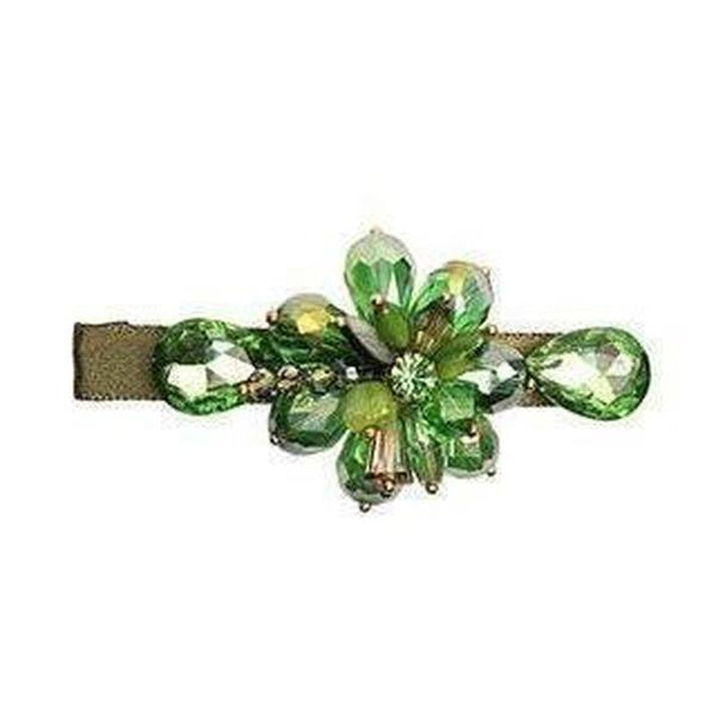 Crystal Ribbon Hair Clip-Clips & slides-Rosie Fox-Green-Tegen Accessories