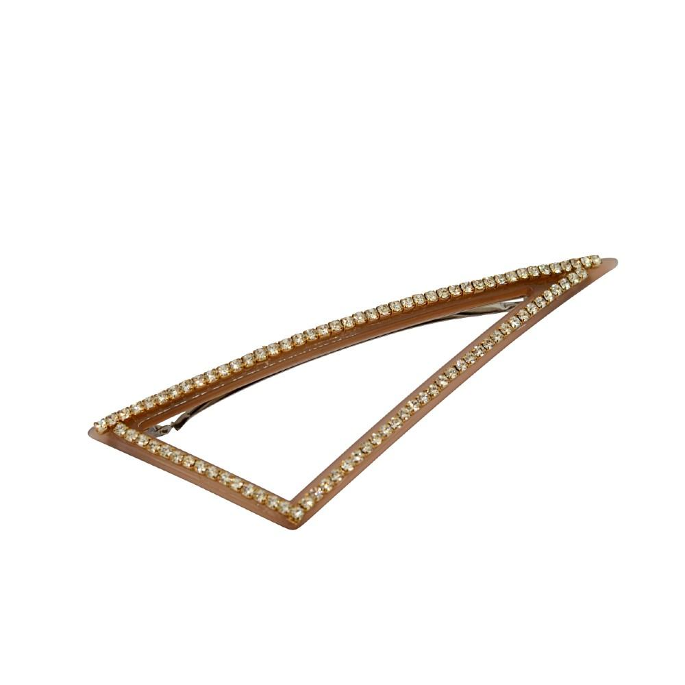 Crystal Triangle Cut Out Barrette Nude Clear