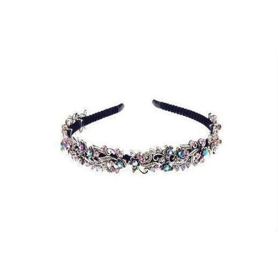 Crystal Vintage Floral Headband-Discontinued-Purple Crystal-Tegen Accessories