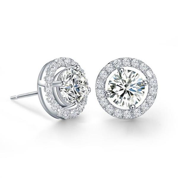 Cubic Zirconia Crystal Stud Earrings-Earrings-Bridal-Tegen Accessories
