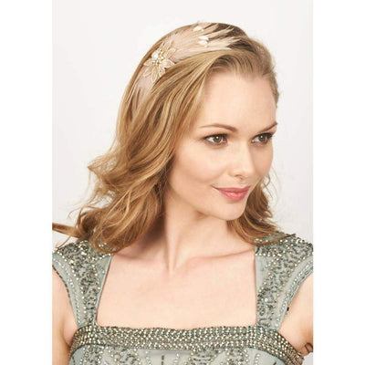 Daphne Pearl and Feather Headband-Discontinued-Tegen Accessories