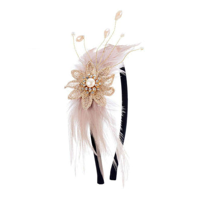 Daphne Pearl and Feather Headband-Discontinued-Honey-Tegen Accessories