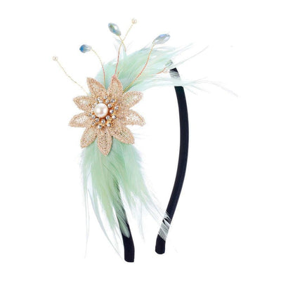Daphne Pearl and Feather Headband-Discontinued-Mint Green-Tegen Accessories