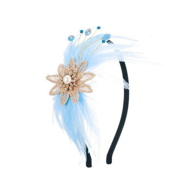 Daphne Pearl and Feather Headband-Discontinued-Sky Blue-Tegen Accessories