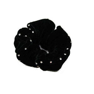 Diamante Velvet Scrunchie-Scrunchies-Tegen Accessories-Black-Tegen Accessories