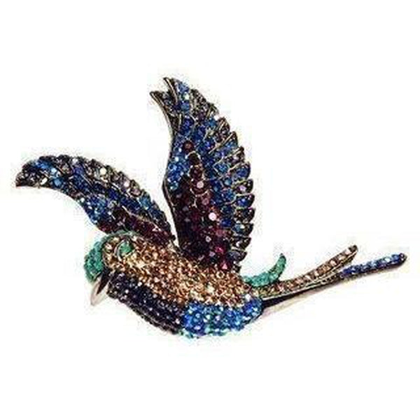 Electric Crystal Hummingbird Hair Clip & Brooch-Brooches-Rosie Fox-Blue-Tegen Accessories