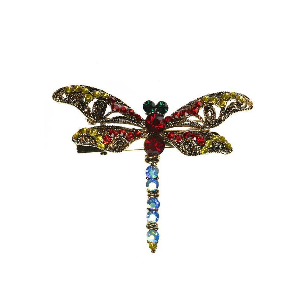 Electric Crystal Dragonfly Brooch-Brooches-Rosie Fox-Tegen Accessories
