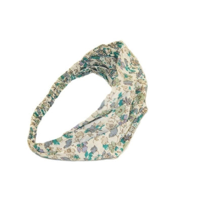 Fairtrade Cotton Bandeau-Bandeaus-Caro London-Floral Isabel White and Jade-Tegen Accessories