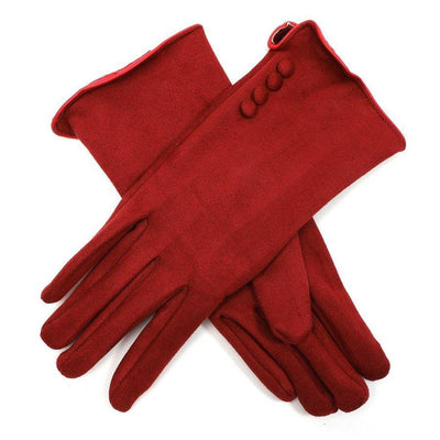 Faux Suede Button Gloves-Discontinued-Burgundy-Tegen Accessories