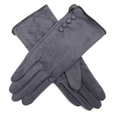Faux Suede Button Gloves-Discontinued-Grey-Tegen Accessories