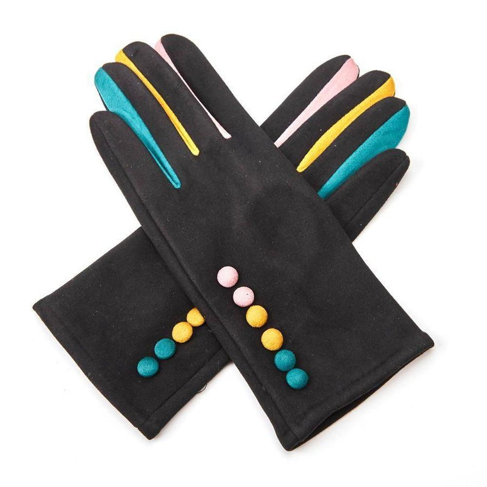 Faux Suede Gloves with 6 Buttons-Gloves-Tegen Accessories-Black-Tegen Accessories