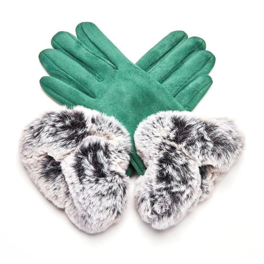 Faux Suede Gloves with Faux Fur Cuff-Discontinued-Green-Tegen Accessories