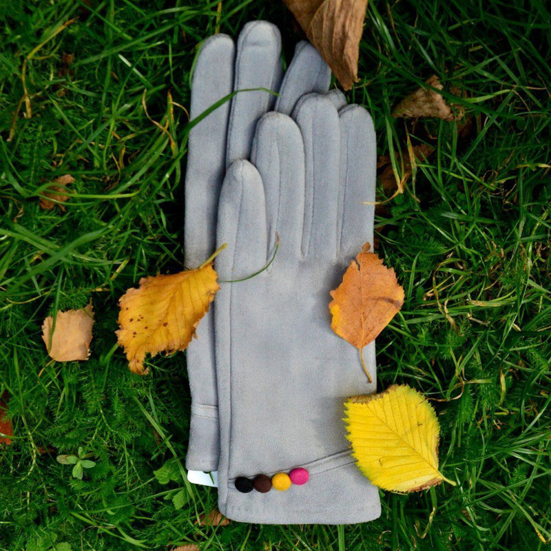 Faux Suede Gloves with Multicolour Buttons-Gloves-Tegen Accessories-Fuchsia-Tegen Accessories