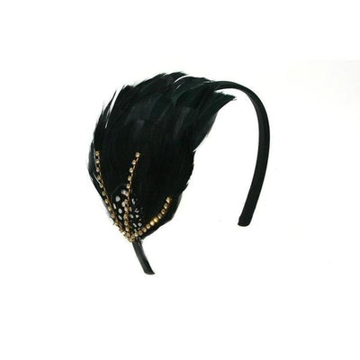 Feather Crystal Capette-Headbands-Rosie Fox-Black-Tegen Accessories