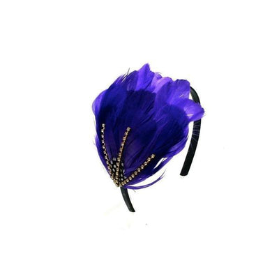 Feather Crystal Capette-Headbands-Rosie Fox-Purple-Tegen Accessories