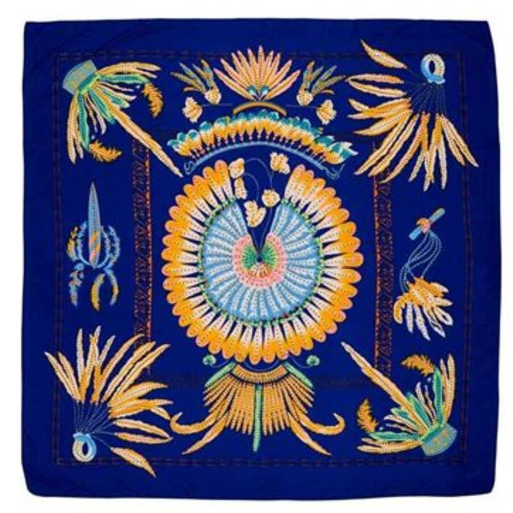 Feather Pattern Silk Scarf